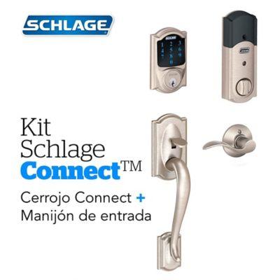 Kit Connect Camelot Satín+Manijón  Derecho Schlage
