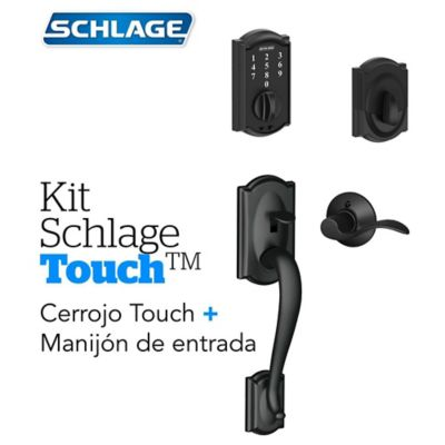Kit Cerradura Digital Touch Camelot Negro+Manijón Derecho