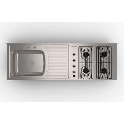 Mesón de Cocina para Sobreponer 150x50 cm con Estufa 4 Puestos a Gas Poceta Derecha Mezclador Acero Inoxidable