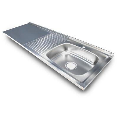 Mesón en Acero Inoxidable Liso para Sobreponer 150x50 cm con Poceta Izquierda para Griferia Monocontrol