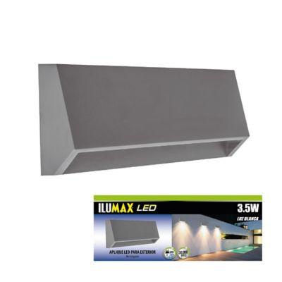 Aplique exterior led rectangular 3.5w gris luz fría ilumax