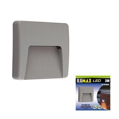 Aplique exterior  cuadrado 3w gris luz fría ilumax