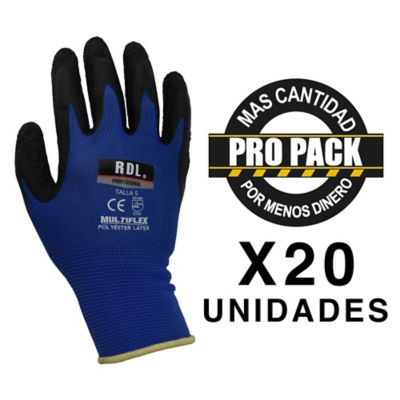 Pack X 20 Pares Guante Poliester Latex Talla S