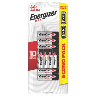 Combo Pilas AA Energizer Max x8und + Pilas AAA Energizer Max x4und