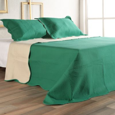 Quilt Microfibra Doble Verde/Beige 215x220 cm