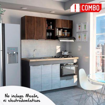 Cocina Integral Halley 1.50 Metros 6 Puertas 1 Cajones Plomo