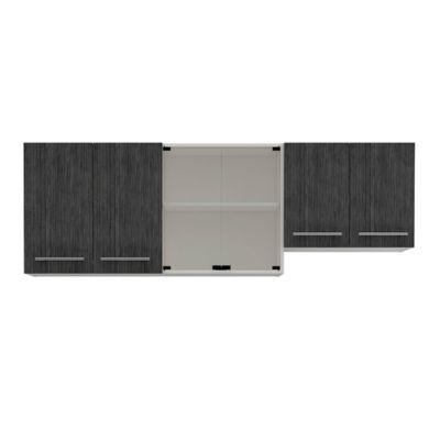 Mueble Superior Para Cocina 1.80 Metros Bari 60.2x180x31.5 cm 6 Puertas Roble Gris
