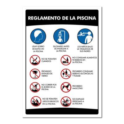 Señal Reglamento Para Piscina 50X70cm Poliestireno Calibre 60