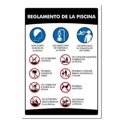 Señal Reglamento Para Piscina 100X70cm Poliestireno Calibre 60