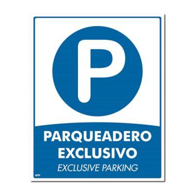 Señal Parqueadero Exclusivo 50X40Cm Poliestireno Calibre 60 con Sujetador