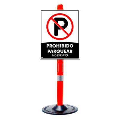 Kit Controlador de Tráfico Tubular con Base de Caucho + Señal Prohibido Parquear 50X40Cm