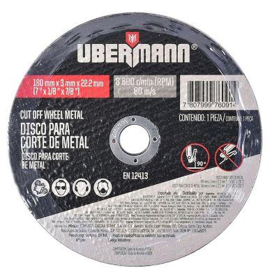 Disco Abrasivo Corte Metal 7pulgx3mm Ubermann
