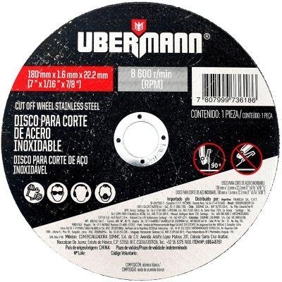Disco Abrasivo Corte Acero Inoxidable 7pulgx1.6mm Ubermann