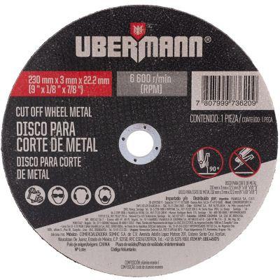 Disco Abrasivo Corte Metal 9pulgx3mm Ubermann