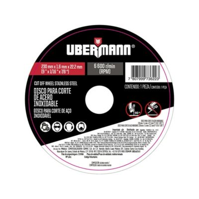 Disco Abrasivo Corte Acero Inoxidable 9pulgx1.6mm Ubermann