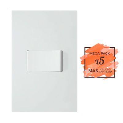 Propack x5und Interruptor Sencillo Blanco Serie Neos 10A-110V