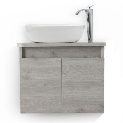 Mueble De Baño Liquid Ceniza Con Lavamanos Vessel