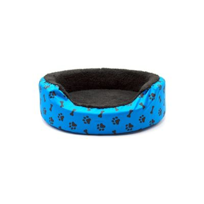 Cama Mini para Mascotas Peluche Azul con Huellas Negras