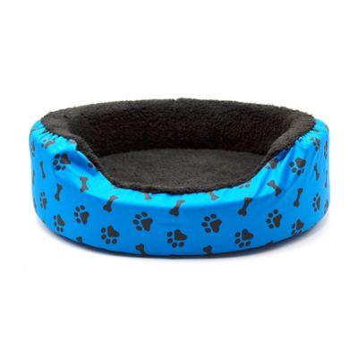 Cama Pequeña para Mascotas Peluche Azul con Huellas Negras