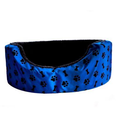 Cama Mediana para Mascotas Peluche Azul con Huellas Blancas