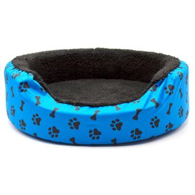 Cama Grande para Mascotas Peluche Azul con Huellas Negras