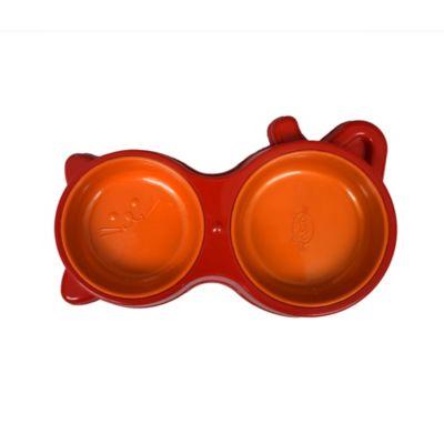 Comedero Bicolor Doble Figura de Gato Rojo