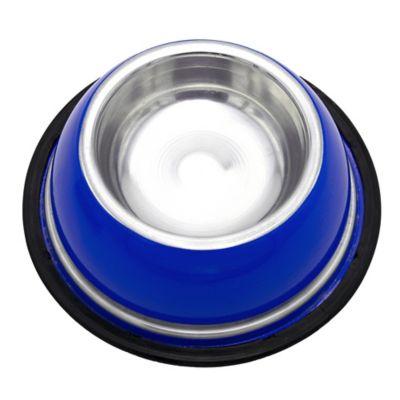 Comedero Mediano Pesado Inoxidable Azul