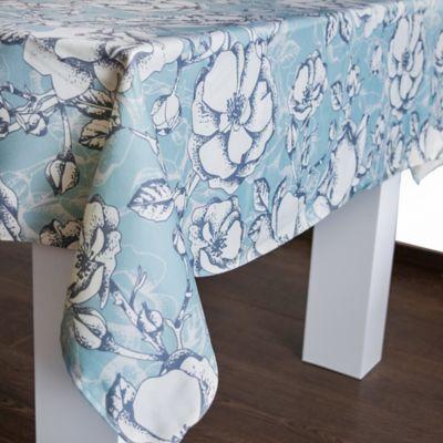 Mantel 146x210cm Flores Grises Azul