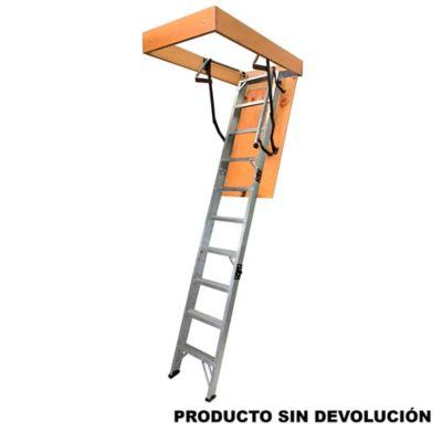 Escalera Certificada de Mansarda Aluminio 10 Pasos 2,00 A 2,40 Metros de 102 Kilogramos de Resistencia