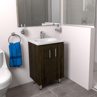 Mueble de baño a Piso Basic Tabaco Chic 48x38cm con lavamanos Eco Blanco