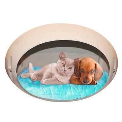 Cama Huevo Plástica con Colchón para Mascotas 40 x 64 x 40 cm Beige