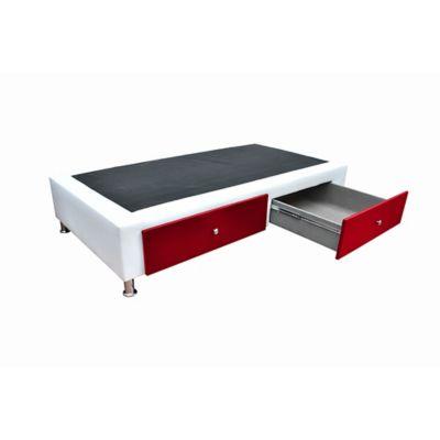 Base Cama Sencilla + Cajones 90x190cm Ecocuero Blanco/Rojo