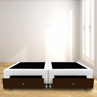 Base Cama Dividida Semidoble + Cajones 120x190cm Ecocuero Blanco/Café