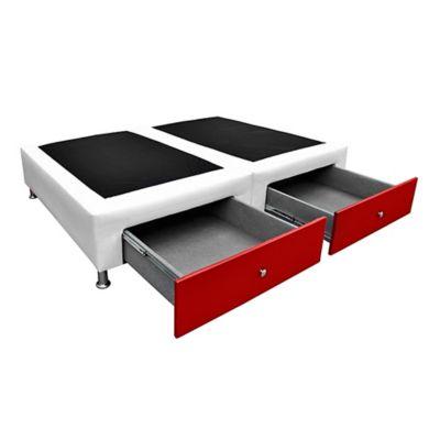 Base Cama Dividida Semidoble + Cajones 120x190cm Ecocuero Blanco/Rojo