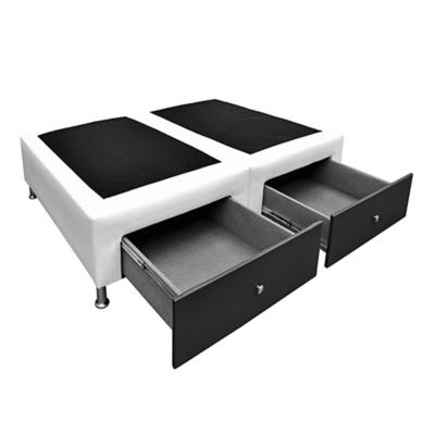 Base Cama Dividida Queen + Cajones 160x190cm Microfibra Blanco-Negro