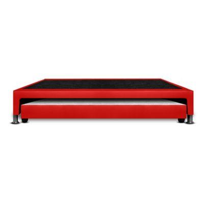 Base Cama Nido Sencilla 190x100x30cm Ecocuero Rojo