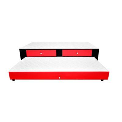 Cama Nido Doble + Cajones 190x140x45cm Ecocuero Negro-Rojo