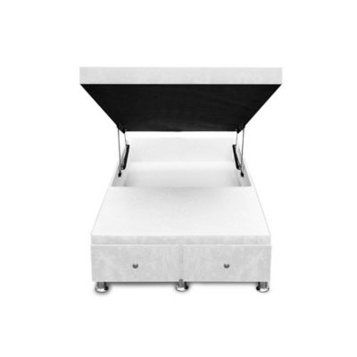 Cama Baúl Semidoble + Cajones 190x120x33cm Microfibra Blanco