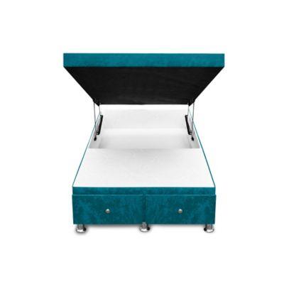 Cama Baúl Semidoble + Cajones 190x120x33cm Microfibra Azul