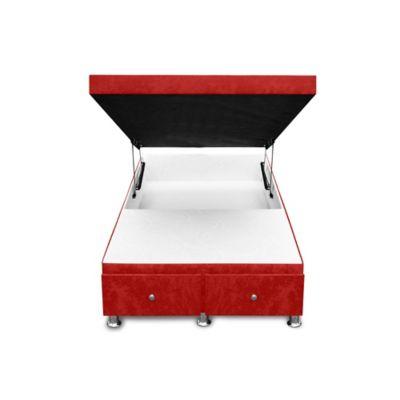 Cama Baúl Semidoble + Cajones 190x120x33cm Microfibra Rojo
