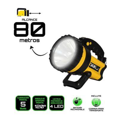 Linterna Recargable 1Led 5W + Luz Posterior ALC 80m