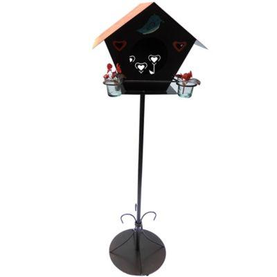 Casa Pajarera para Piso 2 Briseros  Color Negro Hecho de Hierro
