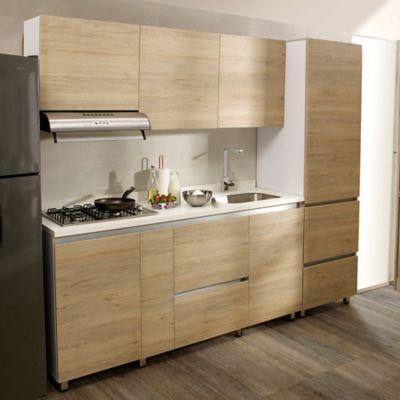 Cocina Integral Valenza 1.80 Metros 5 Puertas 4 Cajones Rovere Incluye Mesón Derecho Con Estufa 4 Fogones A Gas