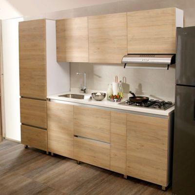 Cocina Integral Valenza 1.80 Metros 5 Puertas 4 Cajones Rovere Incluye Mesón Izquierdo Con Estufa 4 Fogones A Gas