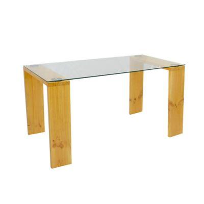 Mesa para Comedor Vidrio + Madera 148x76x79cm