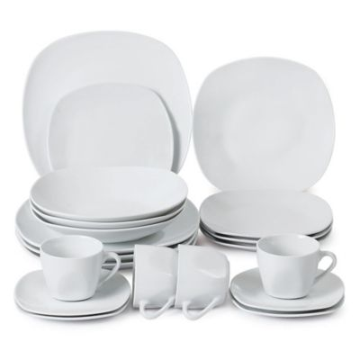 Vajilla Cuadrada Porcelana Blanca 20 Piezas