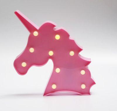 Lámpara De Mesa Decorativa Unicornio Rosa