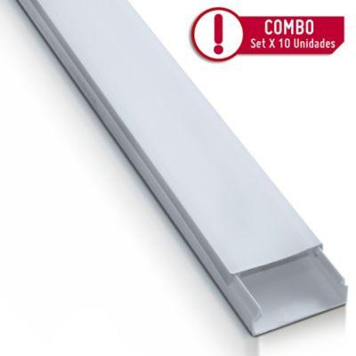 Canaleta Plastica 20X10cm + Adhesivo 2mt | Paquete X 10