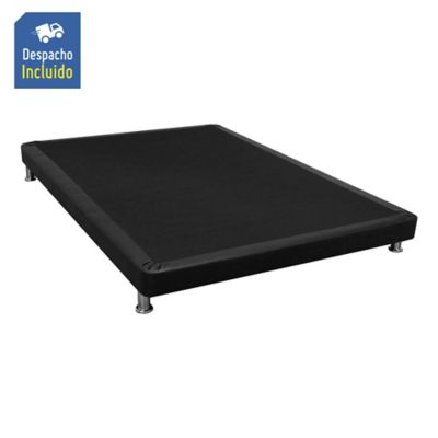 Base Cama Plus Sencilla Completa Tipo Cuero 90x190cm Negro