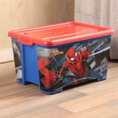 Caja Tapa Broche Con Ruedas Spiderman 25x34x35 cm 28 Lt